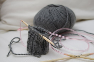 knitting in the round on 2 bamboo circular needles